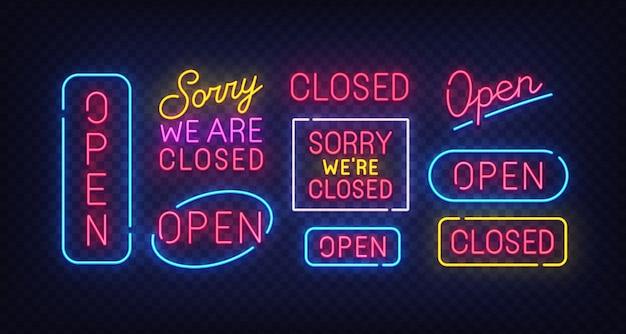 Closed neon sign. open neon sign. Premium Vector
