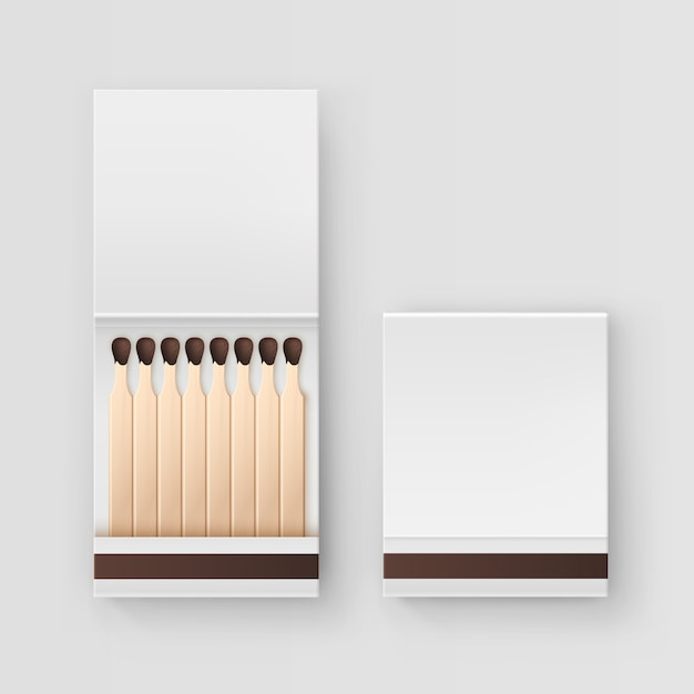 Closed opened blank book of matches top view  on white background Premium Vector