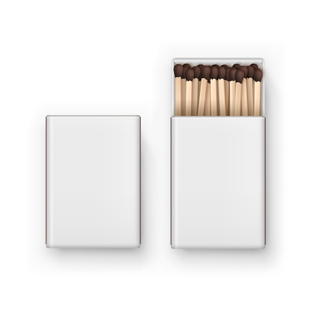 Closed opened blank box of brown matches isolated, top view on white Premium Vector