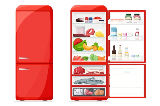 Closed and opened fridge with healthy food Premium Vector