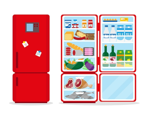 Closed and opened refrigerators full of food. Premium Vector