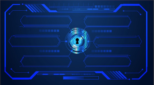 Closed padlock on digital background, cyber security, text box Premium Vector