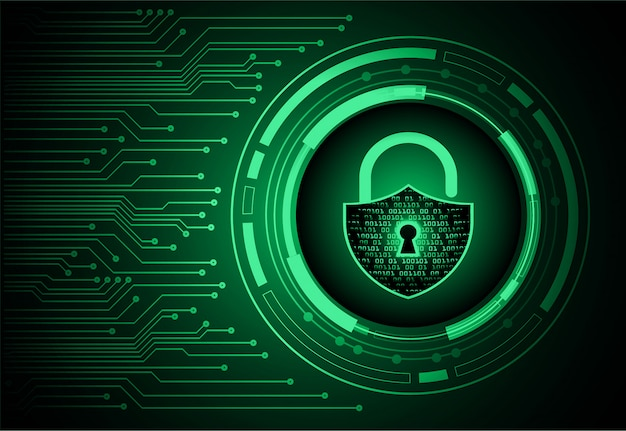 Closed padlock on digital background, cyber security Premium Vector