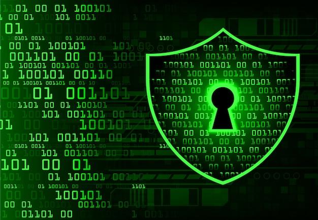 Closed padlock on digital background, cyber security Premium Vector
