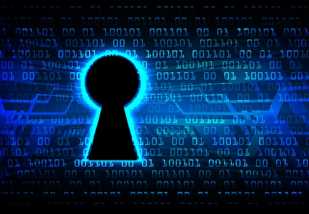 Closed padlock on digital background cyber security Premium Vector