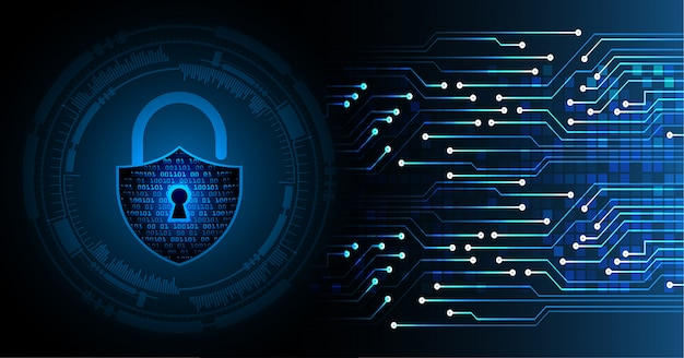 Closed padlock on digital background Premium Vector