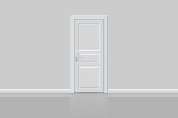 Closed realistic door isolated Premium Vector