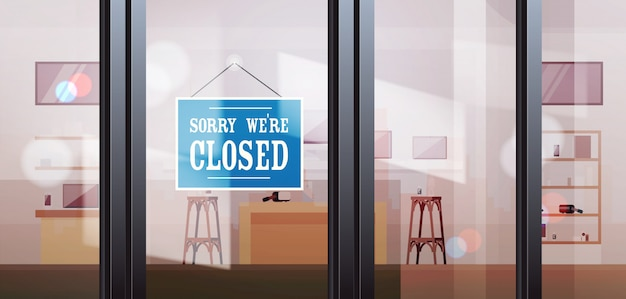 Closed sign hanging outside electronics store shop window coronavirus pandemic quarantine bankruptcy Premium Vector