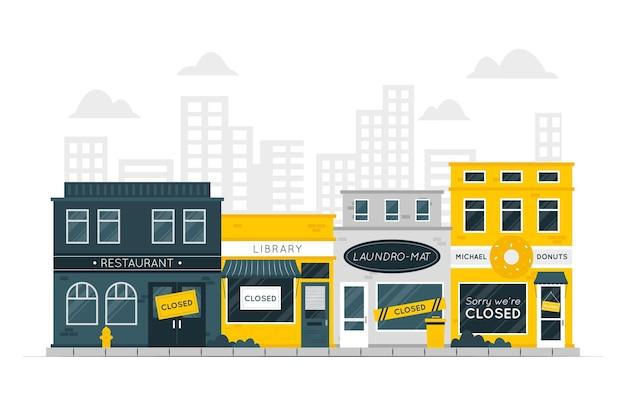 Закрытые магазины концепции иллюстрации Бесплатные векторы