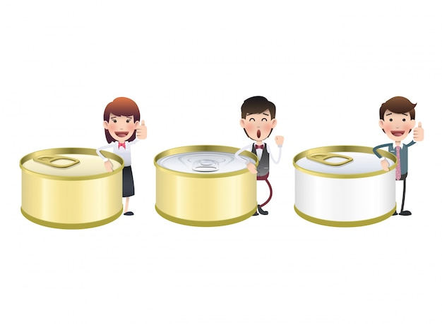 Closed tin cartoon nutrient canned Free Vector