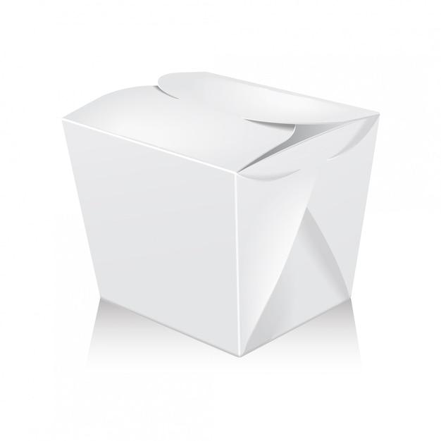 Closed white blank wok box. carton box take away food paper bag. Premium Vector