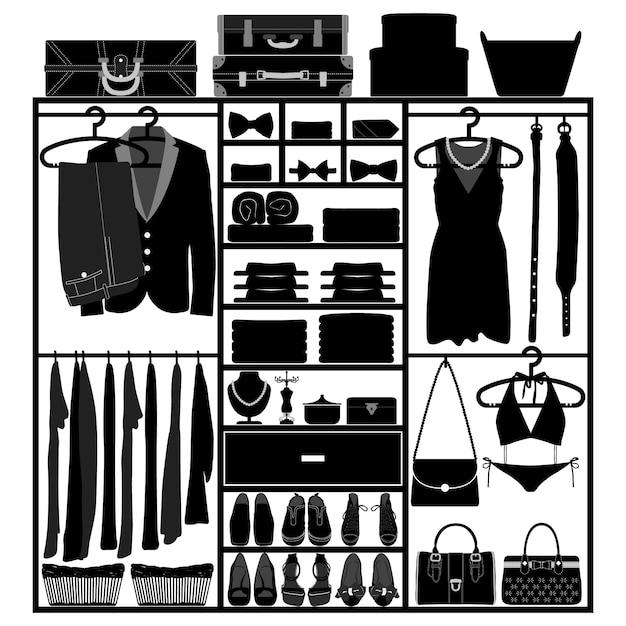 クローゼットワードローブ食器棚布アクセサリー男性女性ファッションウェアシルエット Premiumベクター