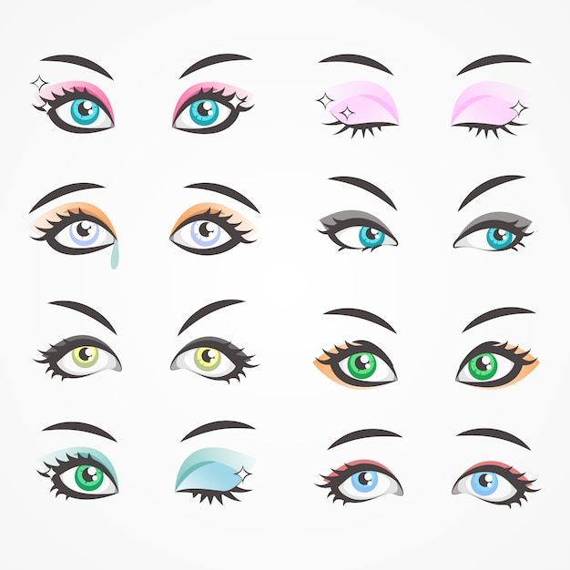 Closeup eyes of beautiful women. females eyes Premium Vector