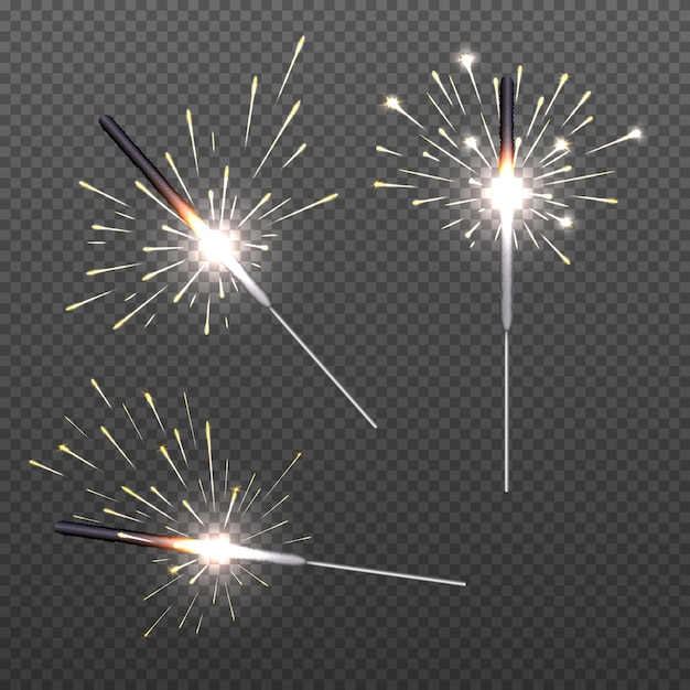 Closeup isolated sparkler shine bengal lights for holiday decor. Premium Vector