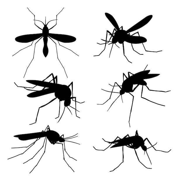 Closeup mosquito silhouettes isolated. flying macro mosquitoes vector set Premium Vector