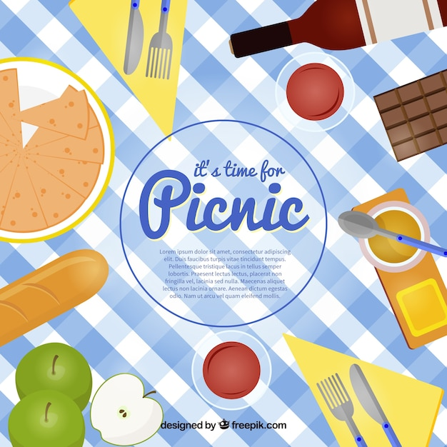 Cloth full foodstuffs for picnic background Free Vector