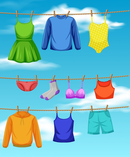 Cloth hanging on the rope Premium Vector