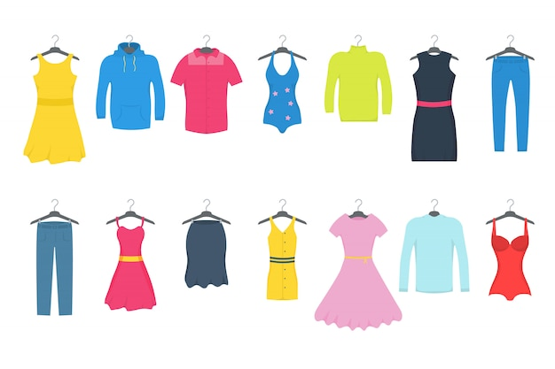 Clothes and accessories fashion icon set. men and women casual clothes on a hanger Premium Vector