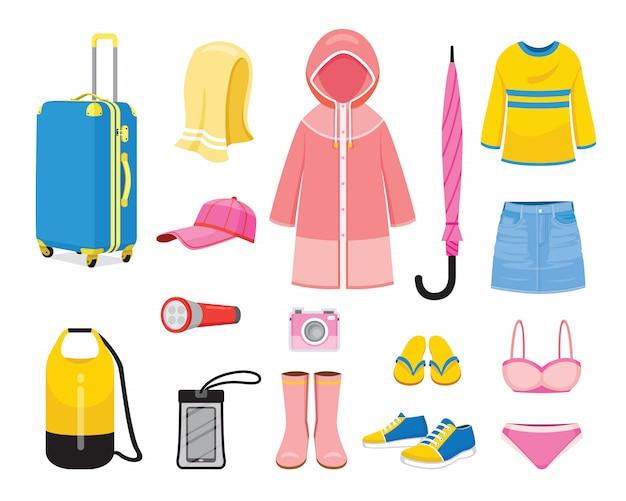 Одежда и необходимость для сезона дождей Premium векторы
