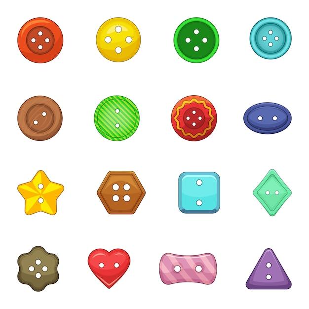 Clothes button icons set Premium Vector