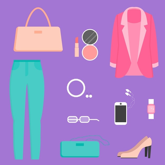 Clothes collection, illustration Premium Vector