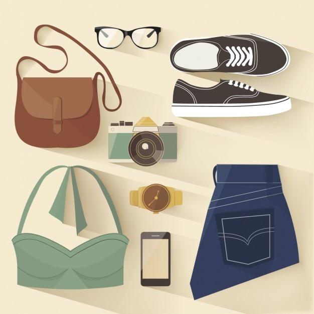 Clothes and different complements Free Vector