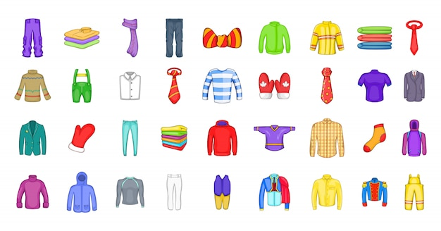 Clothes element set. cartoon set of clothes vector elements Premium Vector