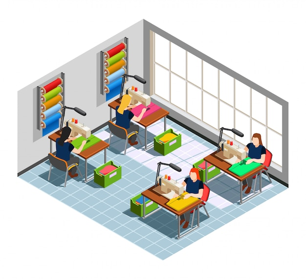 Clothes factory seamstress isometric composition Free Vector