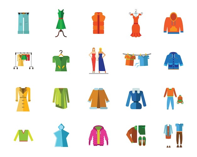 Clothes and fashion icon set Free Vector