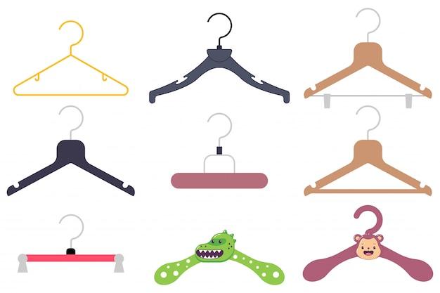 Clothes hanger cartoon icon set. Premium Vector