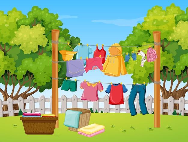Одежда висит во дворе Бесплатные векторы