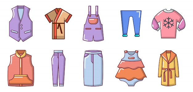Clothes icon set. cartoon set of clothes vector icons set isolated Premium Vector