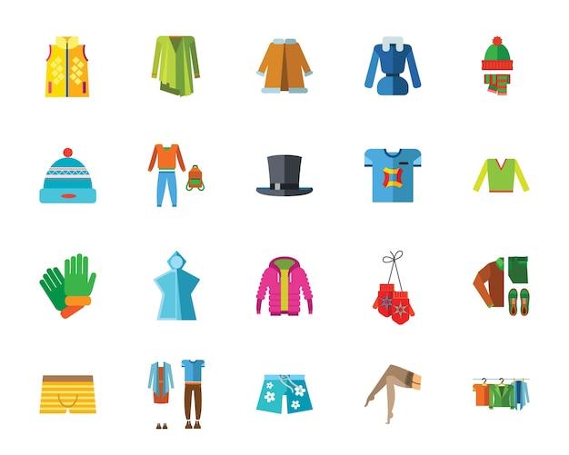 Clothes icon set Free Vector