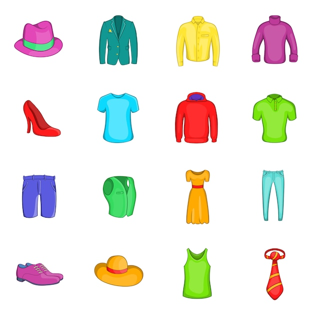 Clothes icons set Premium Vector
