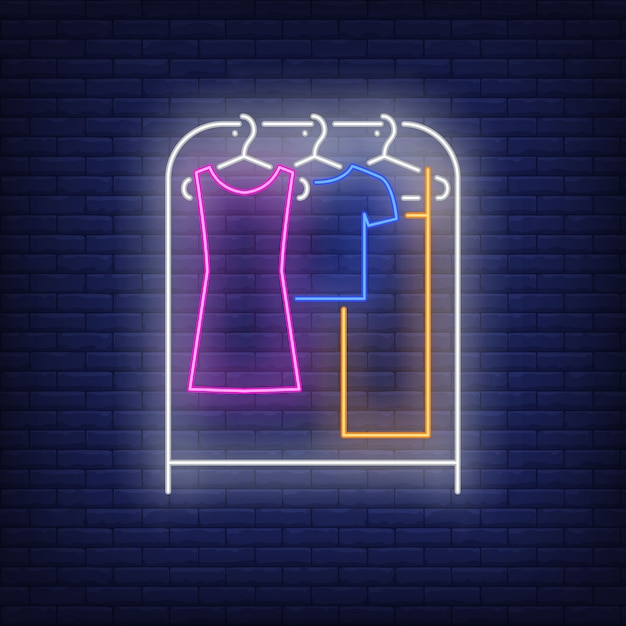 Clothes on rack neon sign. Free Vector