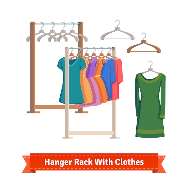 Clothes rack with dresses on hangers Free Vector