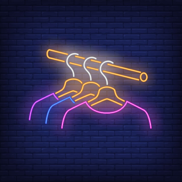 Clothes on rail neon sign. Free Vector