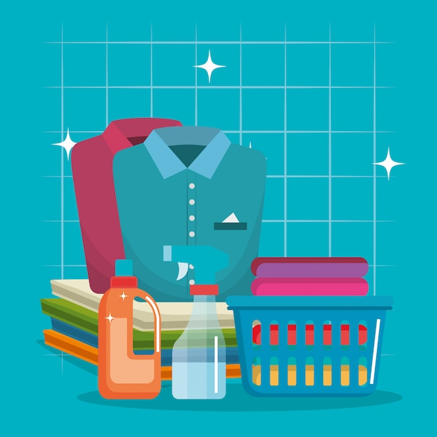 Clothes with laundry service icons Free Vector