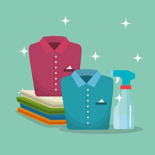 Clothes with laundry service Free Vector