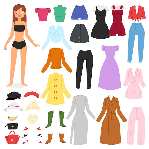 Clothes woman  beautiful girl and dress up or clothing with fashion pants dresses or shoes illustration girlie set of female cloth hat or coat  on white background Premium Vector