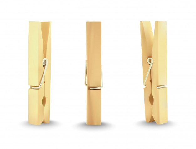Clothes wooden pin Premium Vector