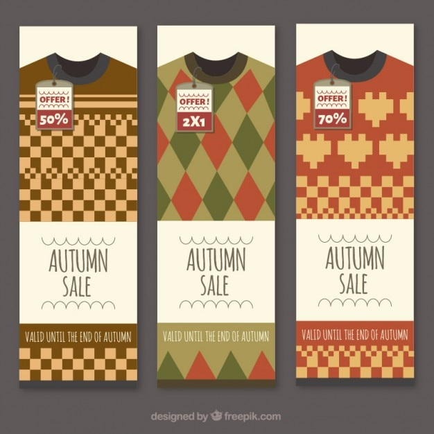 Clothing autumn sale banners Free Vector