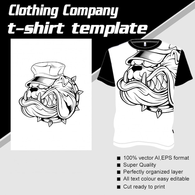 Clothing company, t-shirt template, dog wearing cap Premium Vector