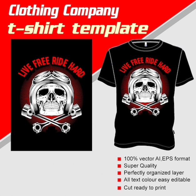 Clothing company, t-shirt template, skull helmet and piston Premium Vector