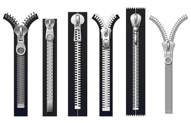 Clothing fasteners, metal zippers isolated set Premium Vector