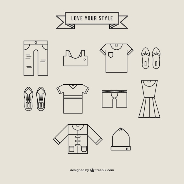 Clothing Icons Linear Style Vector Free Download