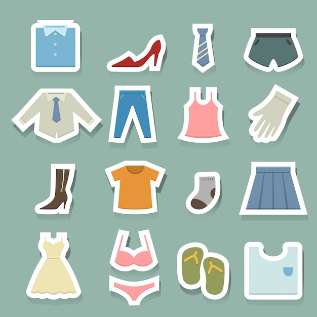 Clothing icons set Premium Vector