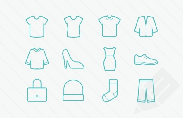 Clothing icons vector glyphs Vector | Free Download
