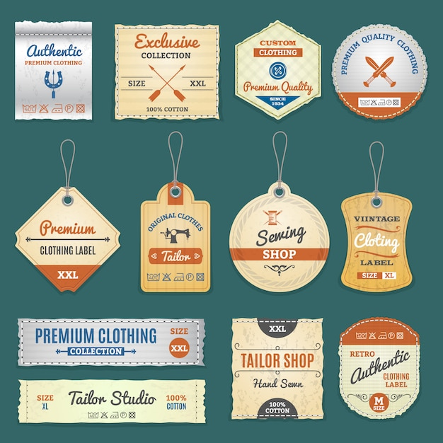 Clothing labels set Free Vector