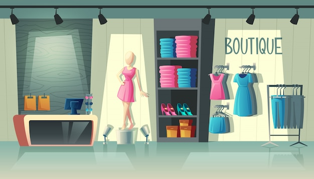Clothing shop interior - wardrobe with woman clothes, cartoon mannequin and stuff on hangers Free Vector